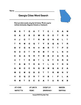 Georgia Cities Word Search (Grades 3-5)