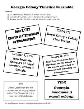 Georgia Colony Timeline Scramble - SS8H2