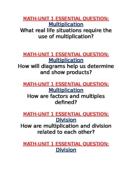 Georgia Common Core Grade 4 Math Units 1 to 7 Essential Questions