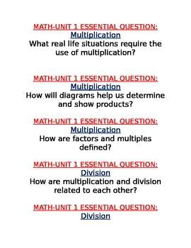 Georgia Common Core Grade 4 Math Units 1 to 7 Essential Questions
