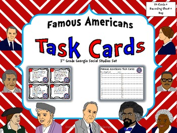 Georgia Famous Americans Task Card Kit- Scoot Game/ Center Activity