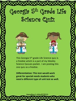 Georgia Fifth Grade Life Science Quiz