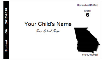 Georgia (GA) Homeschool ID Cards for Teachers and Students
