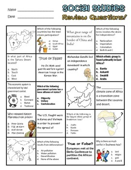 Georgia Social Studies 7th Grade Review Worksheet