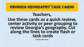 Georgia Geography Task Cards