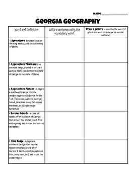 Georgia Geography Vocabulary - Georgia Studies GSE