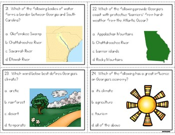 Georgia Geography and Climate Task Cards (new GSE compatible)