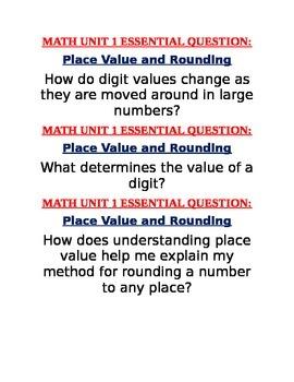 Georgia Grade 4 Math ESSENTIAL QUESTIONS UNIT 1 TO 3