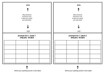Georgia Grade 5 Journeys Spelling Foldable Organizers for Unit 1