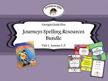 Georgia Grade 5 Journeys Spelling Resources Bundle for Unit 1