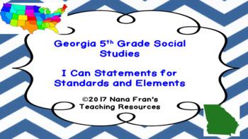 2017 Georgia Grade 5 Social Studies I Can Statement Posters