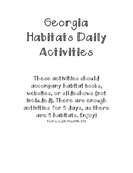 Georgia Habitats Daily Activities Regions S3L1 NEW Georgia Standard Aligned