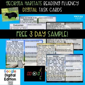 Georgia Habitats Digital Fluency & Comprehension Task Cards FREEBIE