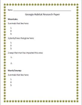 Georgia Habitats Research Packet 3rd Grade Science