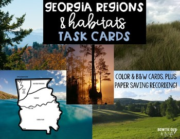 Georgia Regions and Habitats Task Cards Science Scoot for 2017 GSE