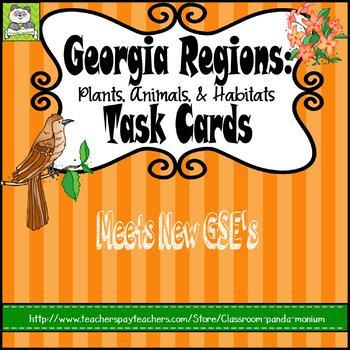 Georgia Regions: Plants, Animals, and Habitats Task Cards