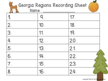 Georgia Regions - Habitats Task / Scoot Cards & Game board