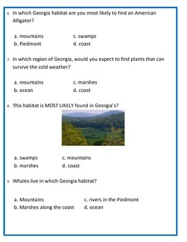 Georgia Habitats and Organism ASSESSMENT- 3rd Science