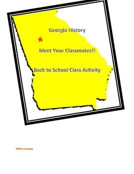 Georgia History Back to School - Meet Your Classmates or HW assingment