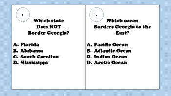 Georgia History Geography Task Cards - answer key included