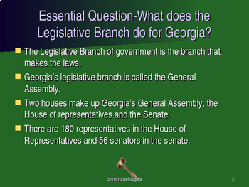 Georgia Studies - Legislative Branch of  Government PowerPoint