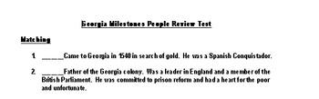 Georgia History Milestones People Test