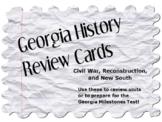 Georgia History Review Cards: Civil War, Reconstruction, a