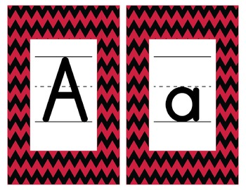 Georgia Inspired Red and Black Alphabet & Number Cards for Word Walls-Editable