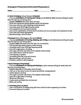Georgia Kindergarten Writing Rubrics