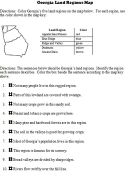 Georgia Land Regions Identify the region goes with Common Core Reading Unit 3
