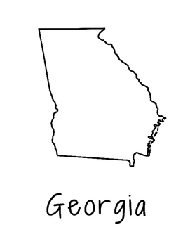 Georgia Map Coloring Page Craft - Lots of Room for Note-Taking & Creativity