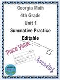 Georgia Math 4th Grade Unit 1 Summative Practice - Editable