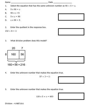 Georgia Math 4th Grade Unit 2 Summative Practice - Editable