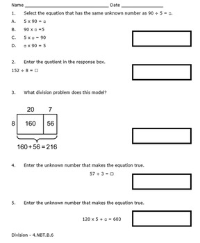 Georgia Math 4th Grade Unit 2 Summative Practice - Editable