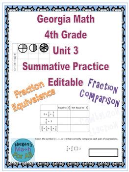 Georgia Math 4th Grade Unit 3 Summative Practice - Editable