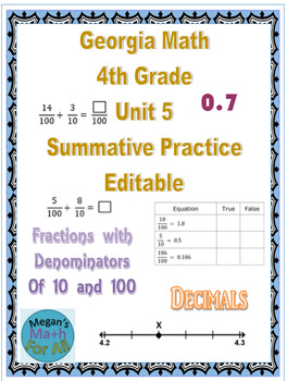 Georgia Math 4th Grade Unit 5 Summative Practice - Editable