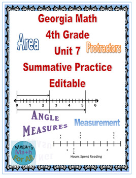 Georgia Math 4th Grade Unit 7 Summative Practice - Editable