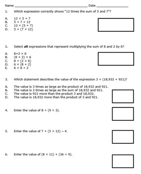 Georgia Math 5th Grade Unit 1 Summative Practice - Editable