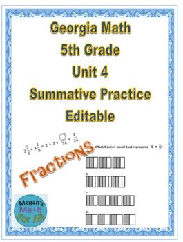 Georgia Math 5th Grade Unit 4 Summative Practice - Editable