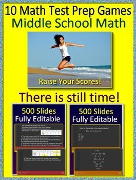 Georgia Milestones Math Test Prep Grades 6 - 8 Practice + Game Show Bundle! GMAS