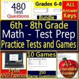 6th, 7th and 8th Grade Test Prep Math Practice + Games Bundle Standardized Tests