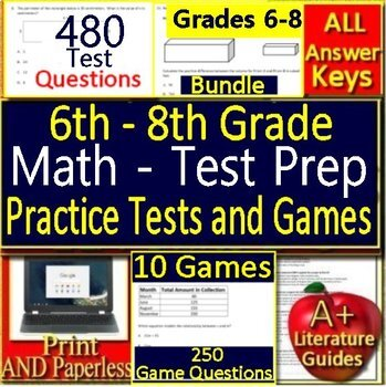 6th, 7th and 8th Grade Test Prep Math Practice + Games