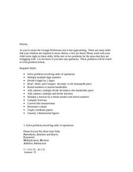 Georgia Milestones Review or Parent Handout/Study Guide for 5th grade Math CCGPS