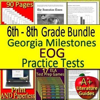 Georgia Milestones Test Prep EOG Practice Tests GMAS Language Arts BUNDLE!