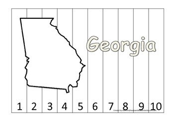 Georgia Number Sequence Puzzle.  Learn the States preschool printable game.