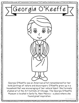 Georgia O'Keefe, Famous Artist Informational Text Coloring Page Craft or Poster