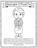 Georgia O'Keeffe, Famous Artist Informational Text Coloring Page Craft or Poster