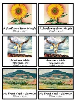 Artist Georgia O'Keefe Montessori 3 Part Cards with Display Card