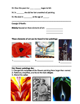 Art History: Georgia O'Keeffe Read-A-Long & Worksheet (fill in the blank)
