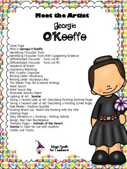 Georgia O'Keeffe - Meet the Artist - Artist of the Month - Mini Unit Printables